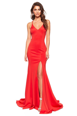 A&N Luxe Emilie - Red Gown with V-Neck, Lace-Up Back & Side slit