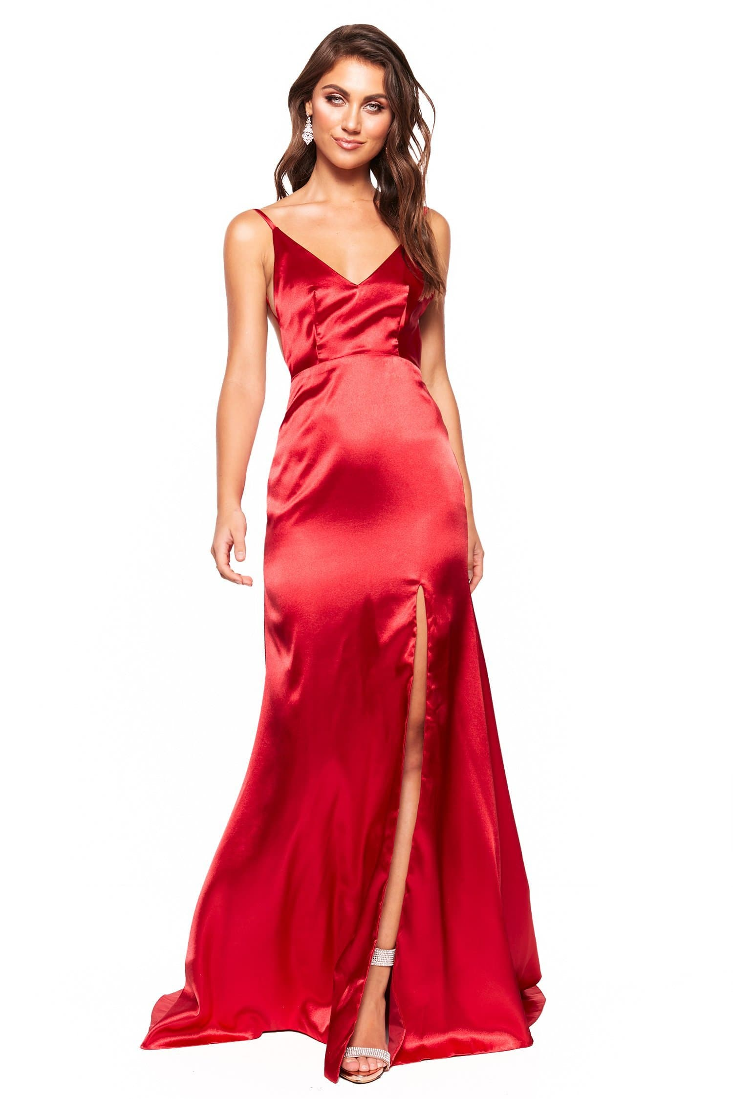 A&N Luxe Inka - Red Satin Low Back Gown with V-Neck and Side Slit