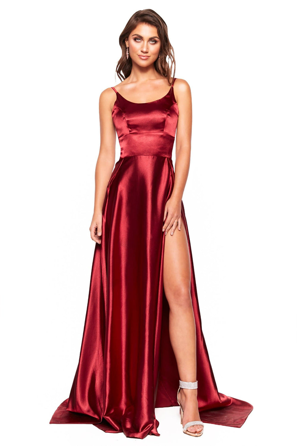 A&N Luxe Vanessa - Burgundy Satin Gown With Scoop Neck and Slit