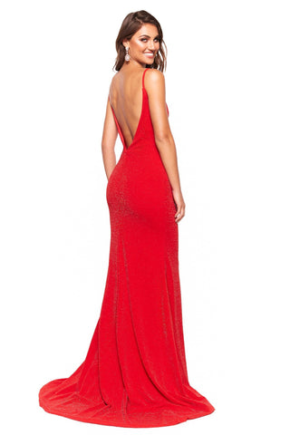 A&N Luxe Pia - Red Shimmering Mermaid V-Neck Backless Gown