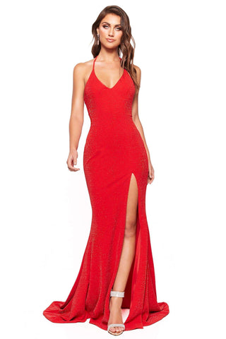 A&N Luxe Felicity - Red Shimmering Gown with Halter Neck & Side slit