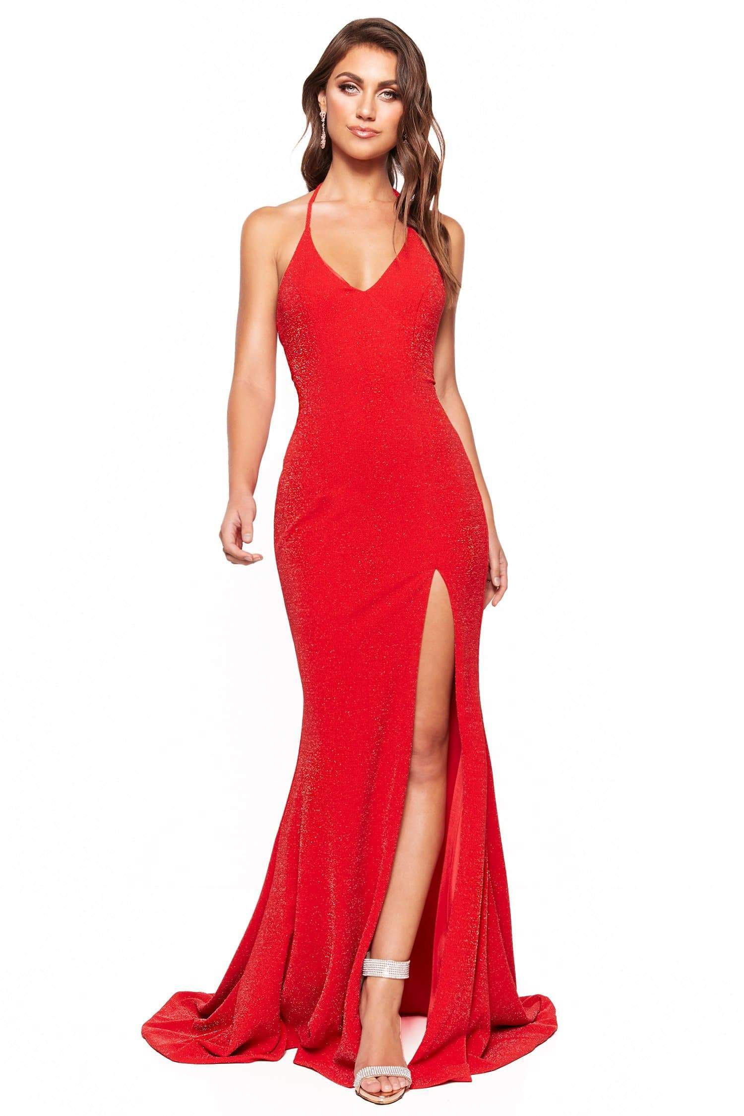 adc9abf6106 A N Luxe Felicity - Red Shimmering Gown with Halter Neck   Side slit ...