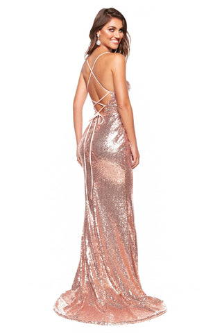 A&N Stephanie - Rose Gold Sequin Gown with Side Slit & Lace-Up Back