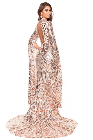 A&N Luxe Kenza - Rose Gold Cape Sleeve Patterned Sequin Cut-Out Gown