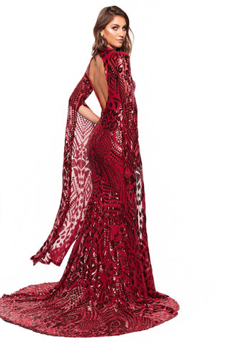 A&N Luxe Kenza - Burgundy Cape Sleeve Patterned Sequin Cut-Out Gown