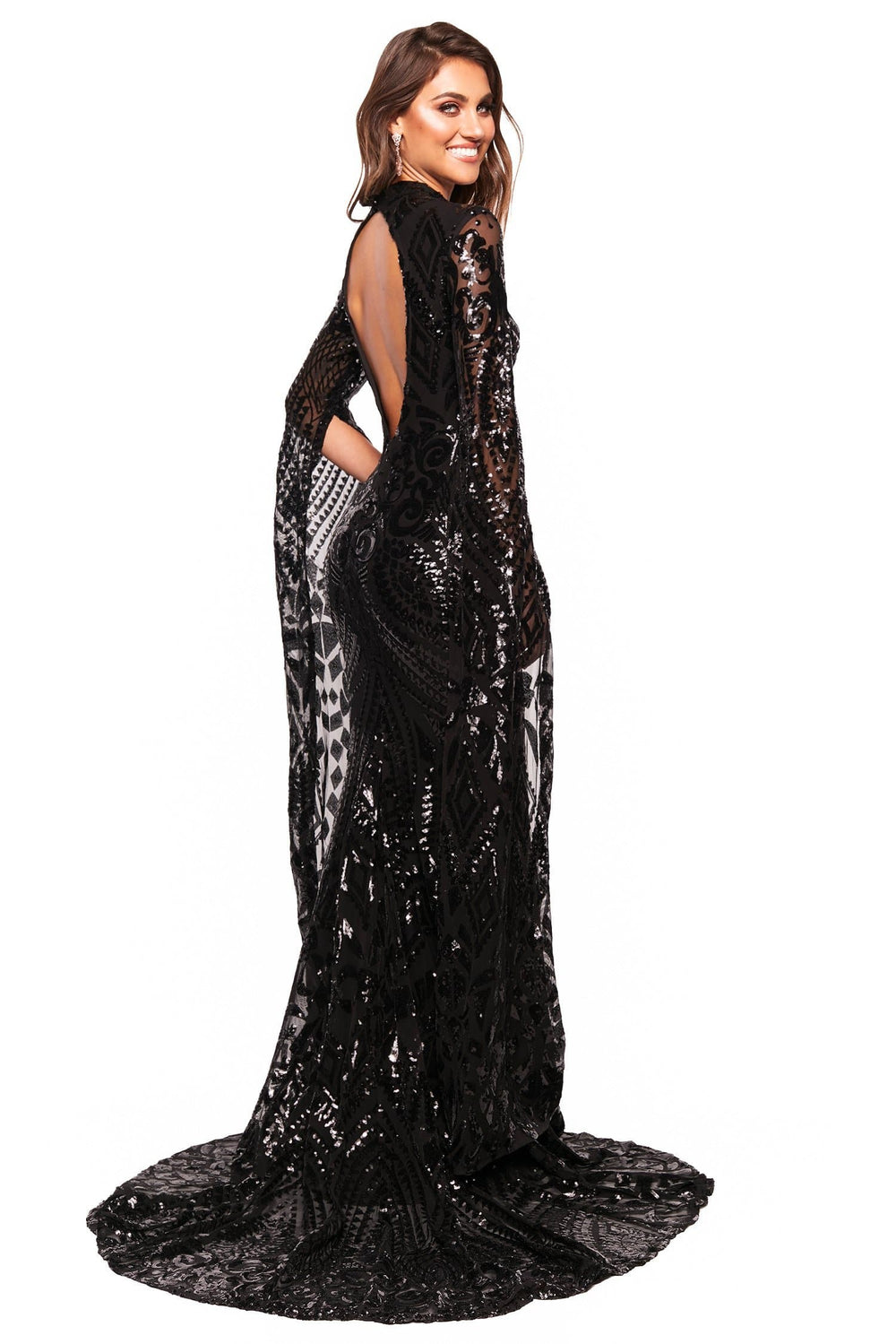 A&N Luxe Kenza - Black Long Sleeve Cape Patterned Sequin Cut-Out Gown