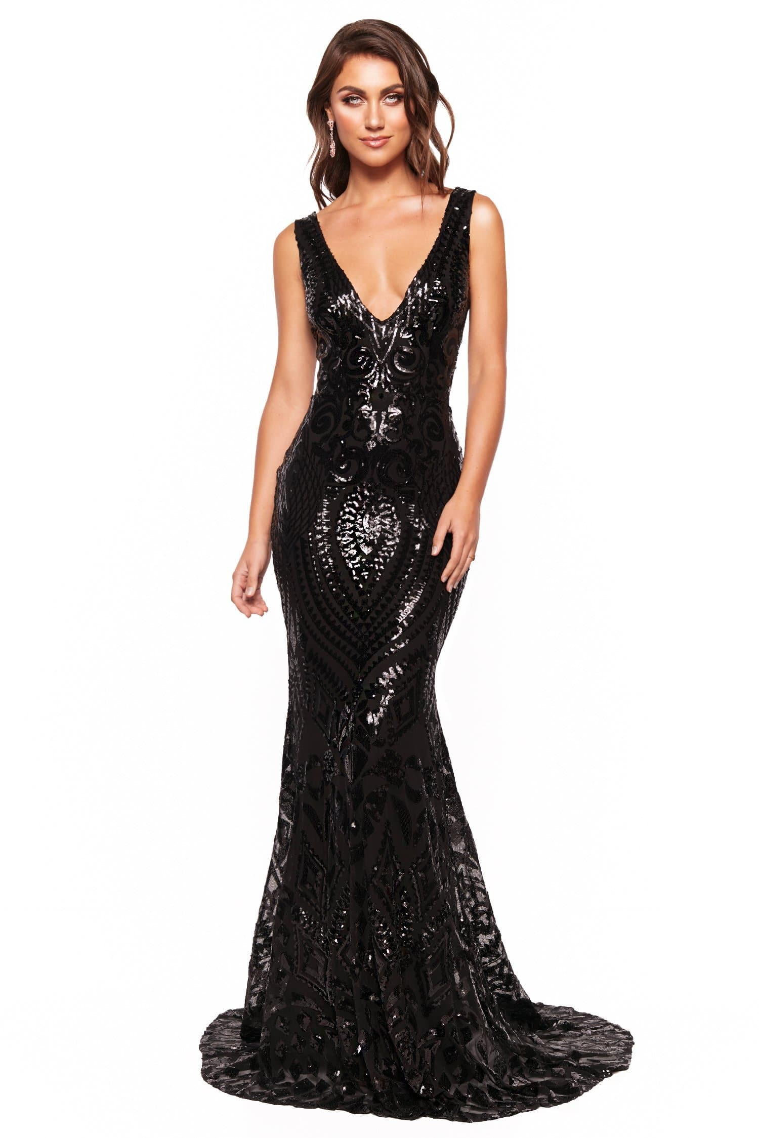 A&N Luxe Crown - Black Sequin Gown with Plunge Neck & Open Back