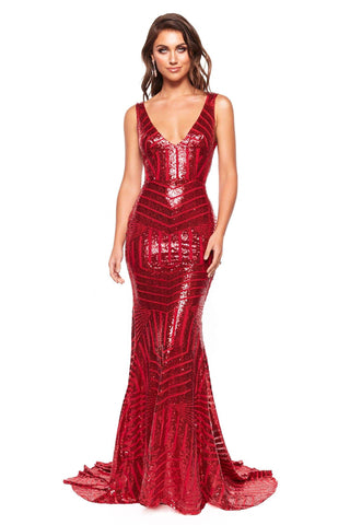 A&N Luxe Serena - Red Sequin Mermaid Gown with Plunge Neck & Low Back