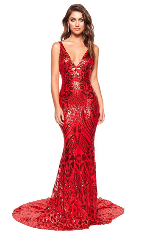 A&N Luxe Sapphira - Red Sequin Mermaid Gown with Plunge Neck & Low Back