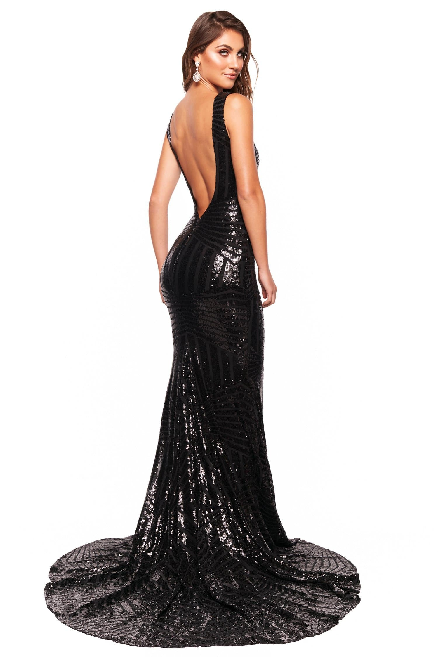 A&N Luxe Serena - Black Sequin Mermaid Gown with Plunge Neck & Low Back