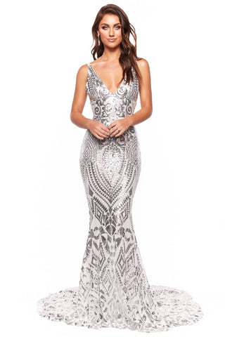 A&N Luxe Sapphira - Silver Sequin Gown with Plunge Neck & Low Back