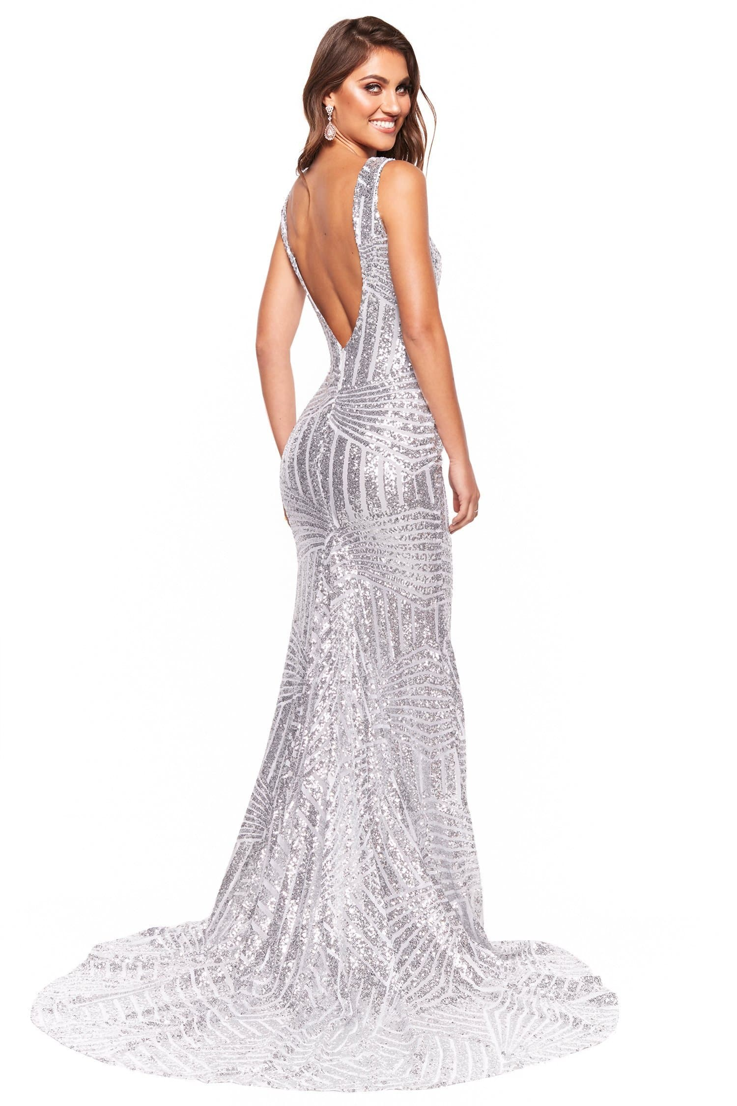 A&N Luxe Serena - Silver Sequin Mermaid Gown with Plunge Neck & Low Back