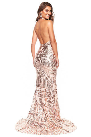 A&N Luxe Inaya - Rose Gold Halter Patterned Sequin Gown with Low Back