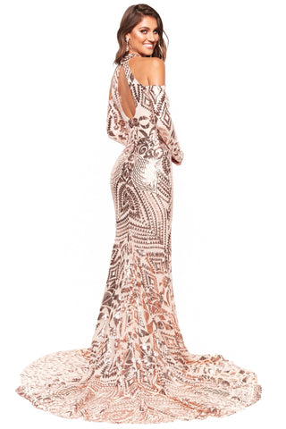 A&N Luxe Sierra - Rose Gold Patterned Sequin Gown with Cut Outs