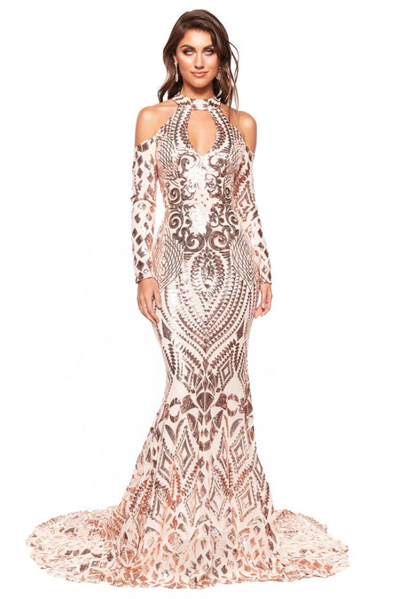 A&N Aaliyah Sequin Cocktail Dress - Rose Gold