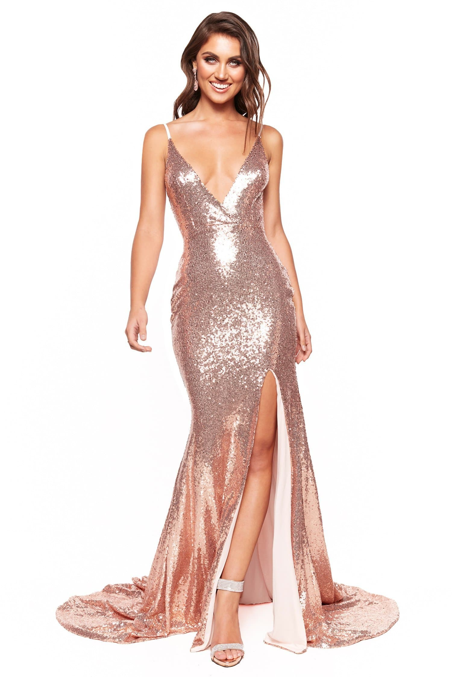 A&N Luxe Hailey - Rose Gold Plunge Neck Mermaid Sequin Gown with Slit