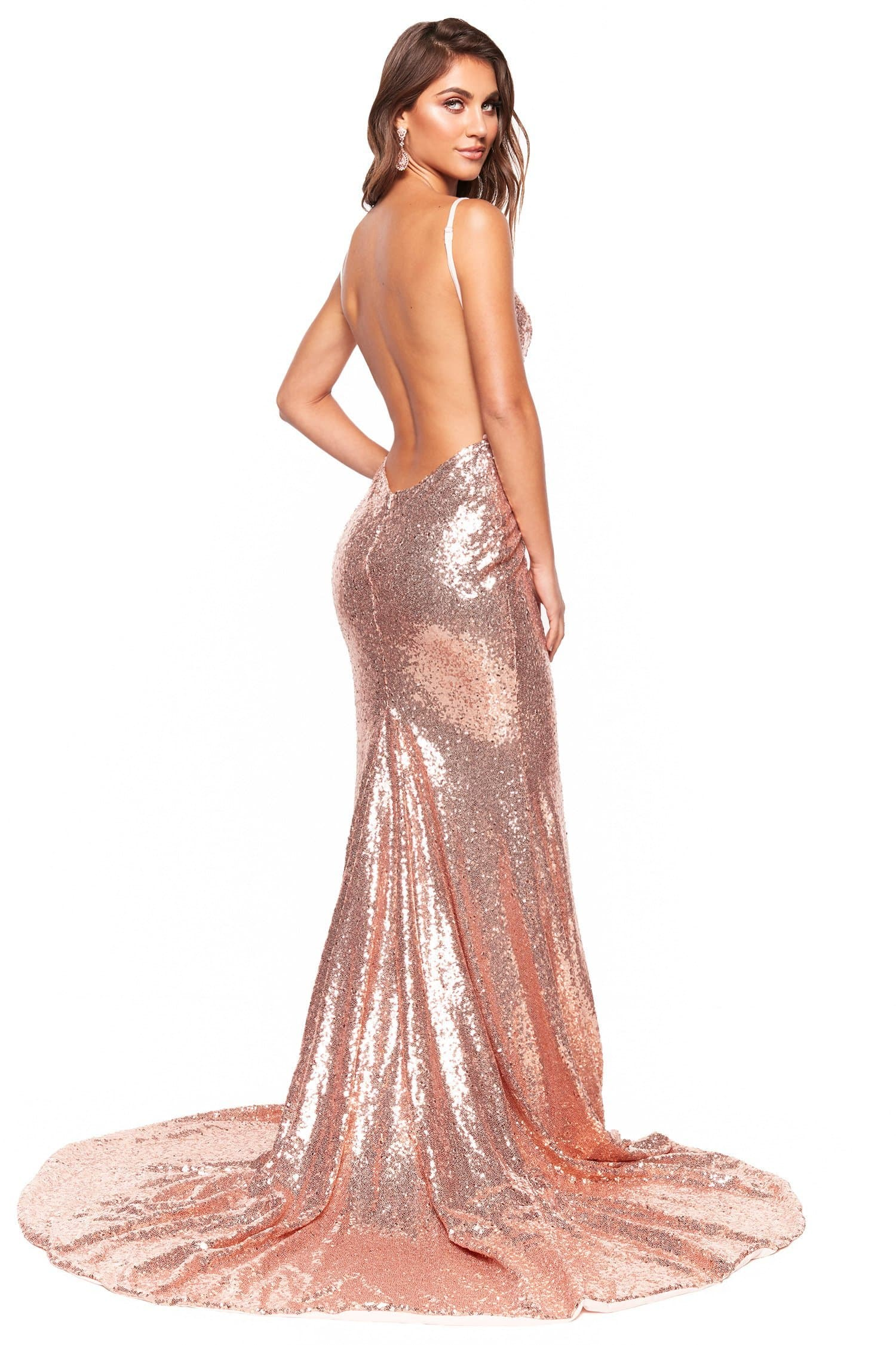 eb3cf92e3ba1f A N Luxe Hailey - Rose Gold Plunge Neck Mermaid Sequin Gown with Slit – A N  Luxe Label