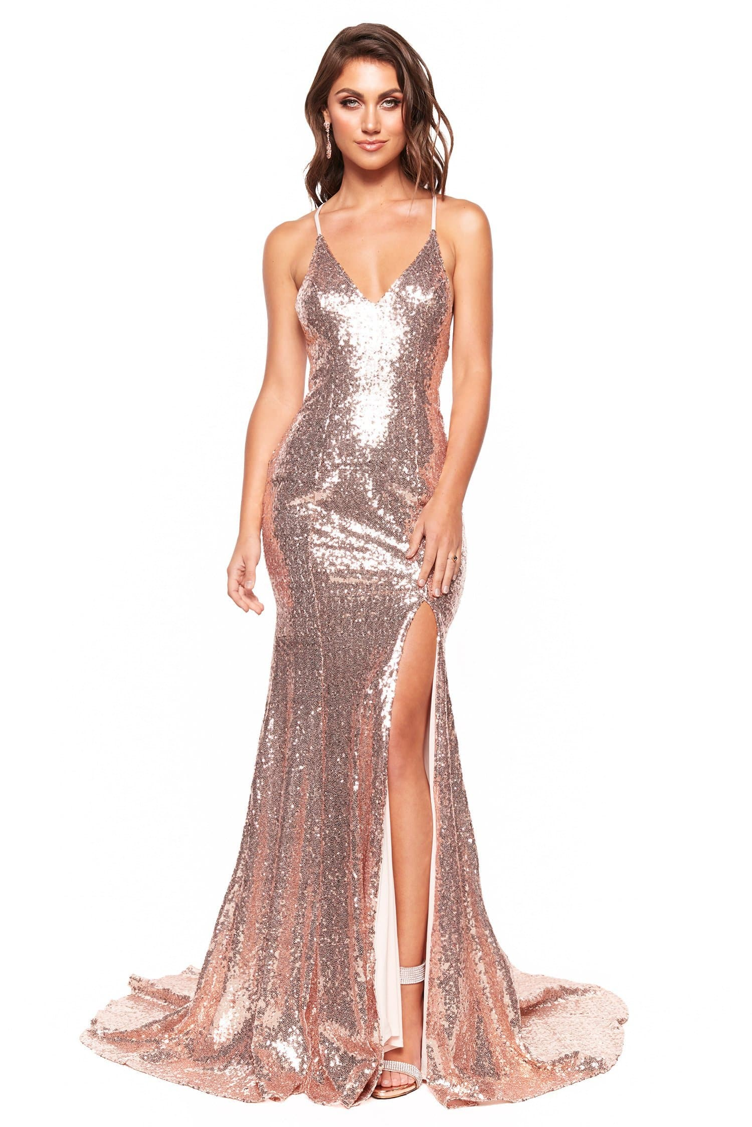 A&N Luxe Chelsea - Rose Gold Plunge Sequin Mermaid Gown with Side Slit