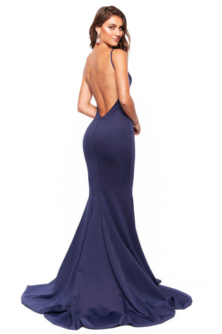 A&N Luxe Jada - Navy Plunge Neck Low Back Mermaid Ponti Gown