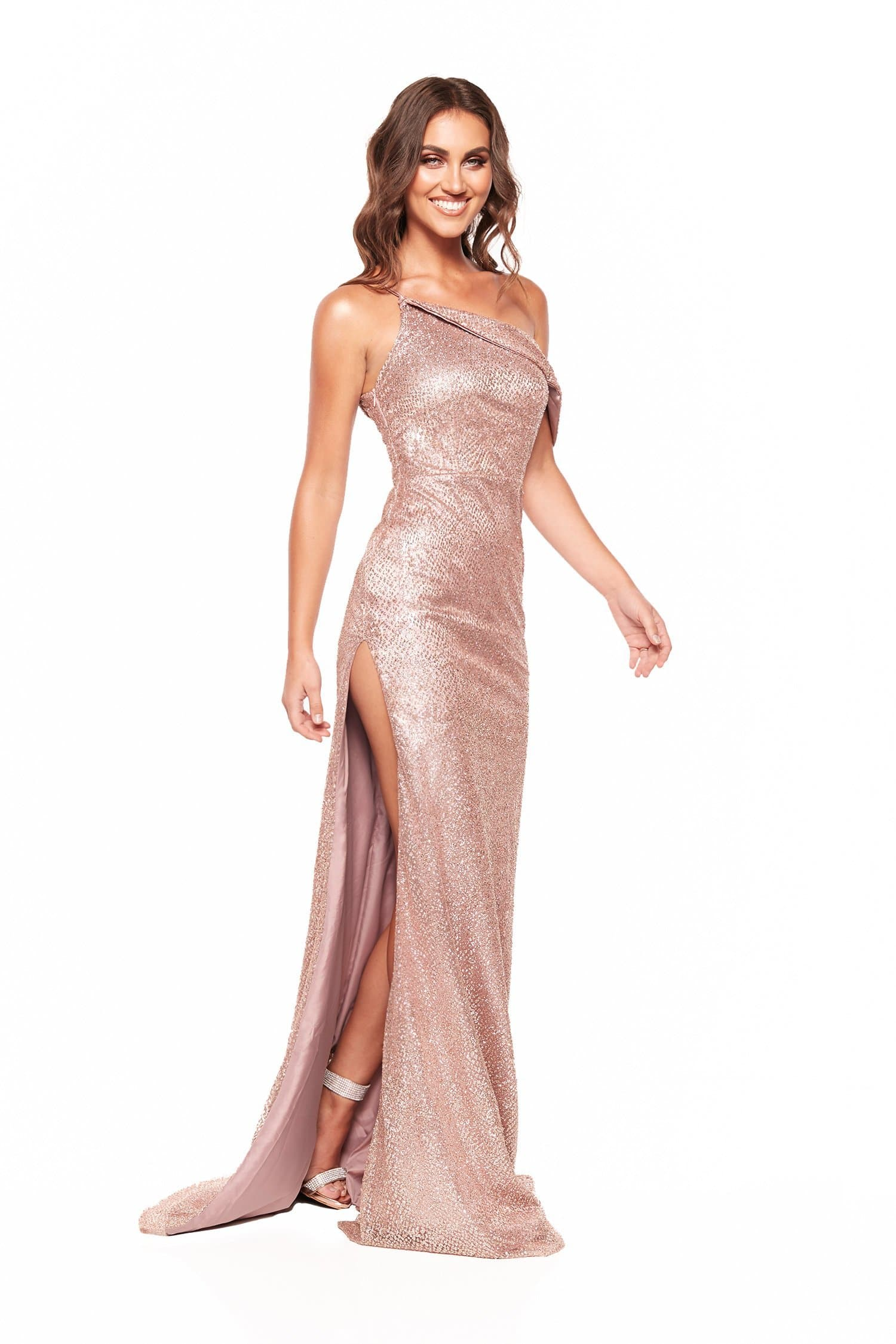 A&N Rita - One Shoulder Glitter Gown with Side Slit in Rose Gold ...