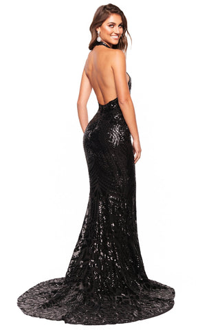 A&N Luxe Inaya - Black Halterneck Patterned Sequin Gown with Low Back