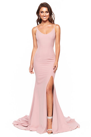 A&N Luxe Malia - Dusty Pink Crepe Gown with Scoop Neck & Side Slit