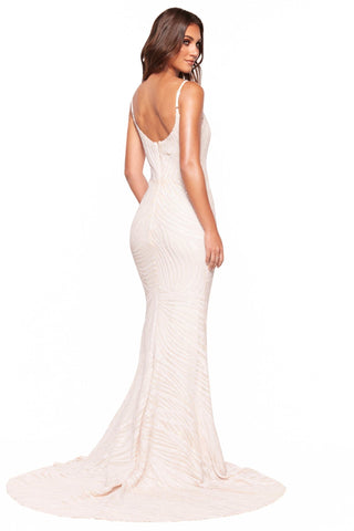 A&N Luxe Talulah - White Patterned Sequin Gown with Sweetheart Neckline