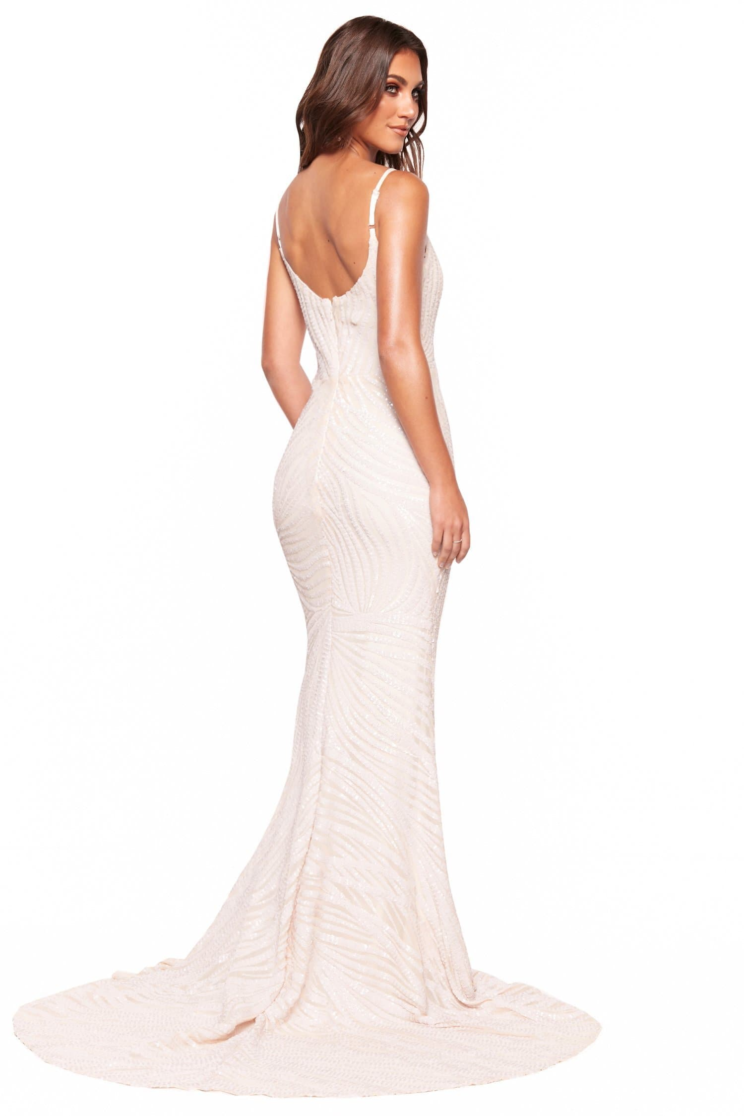 A&N Luxe Jamilla - White Patterned Sequin Gown with Sweetheart Neckline