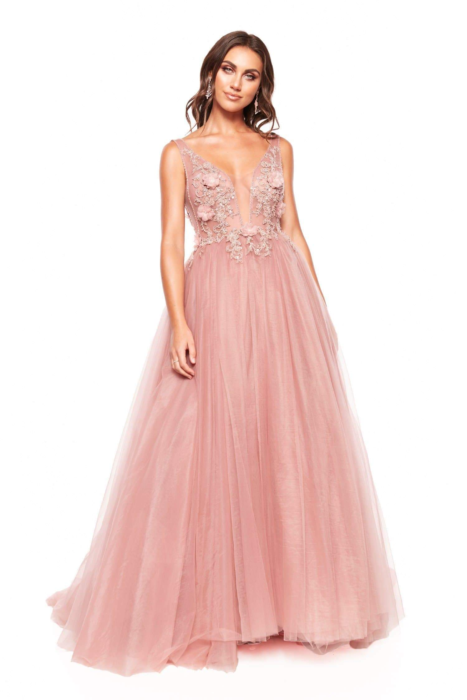 A&N Marinela Princess Embellished & Beaded Backless Tulle Gown - Pink