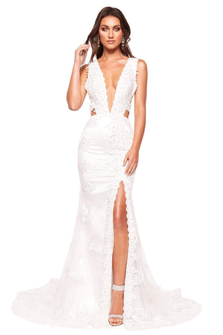 A&N Luxe Rosalie - White Beaded Lace Embellished Gown with Open Back