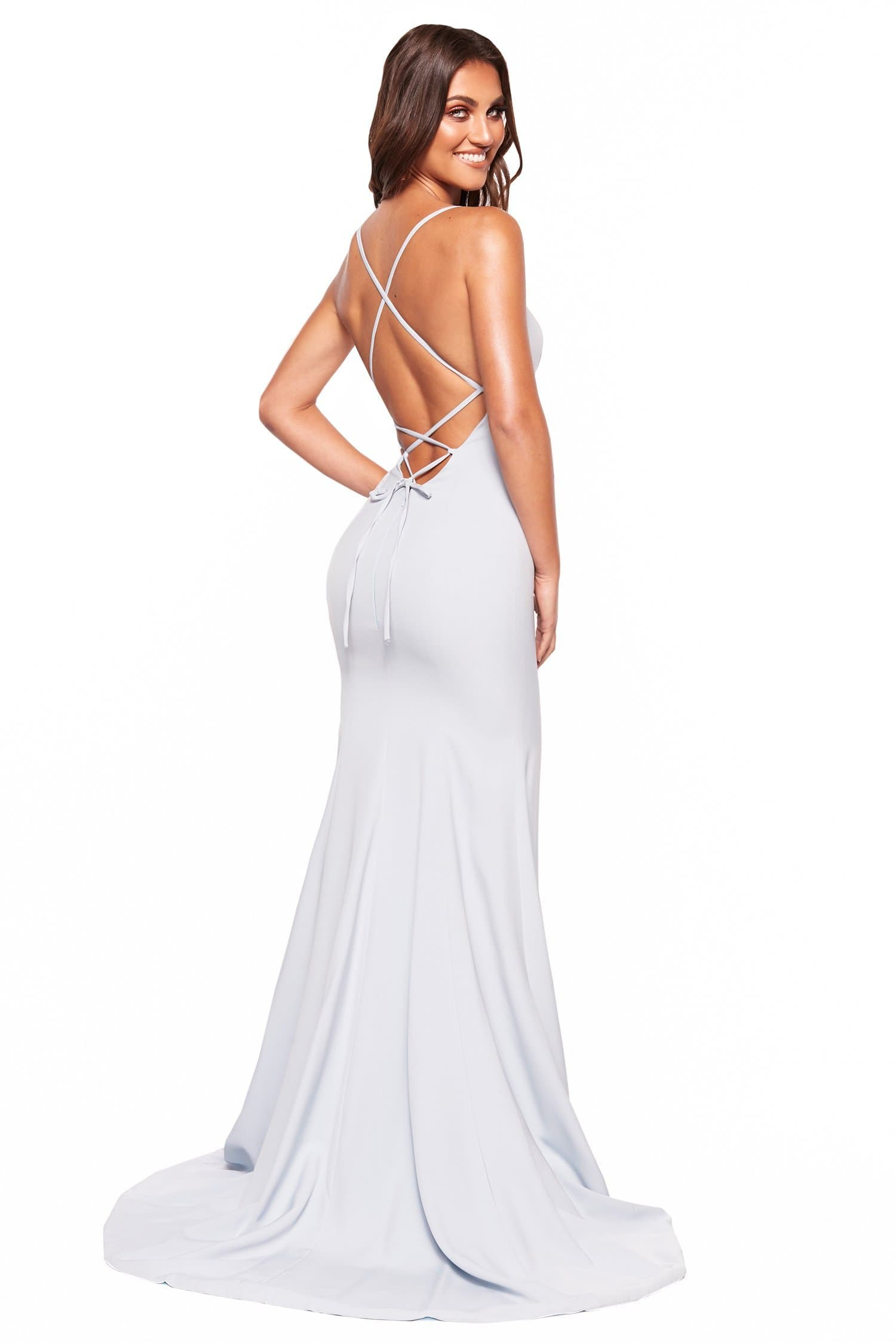 A&N Luxe Amira - Sky Blue Gown with Straight Neckline & Lace-Up Back