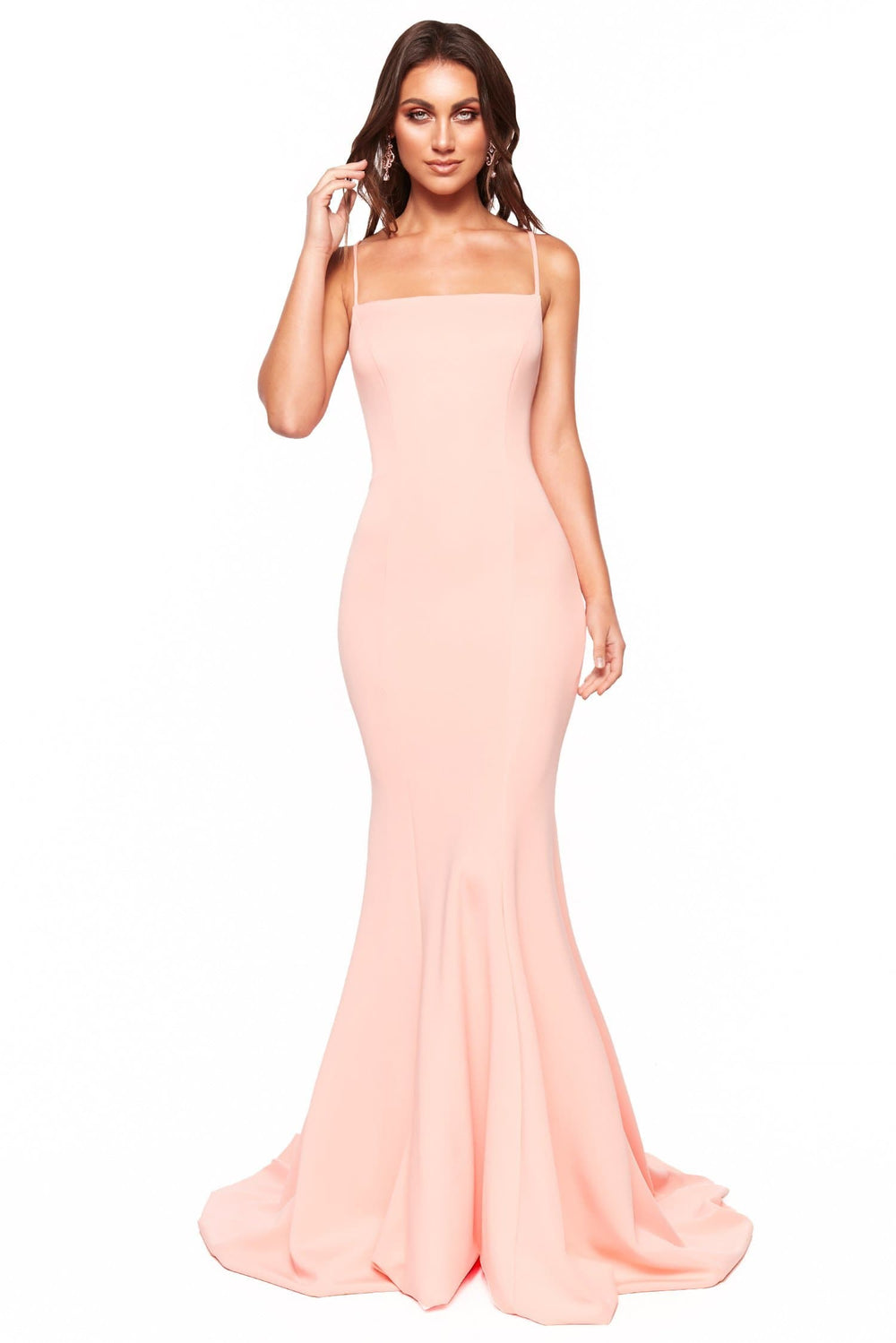 A&N Luxe Amira - Peach Gown with Straight Neckline & Lace-Up Back