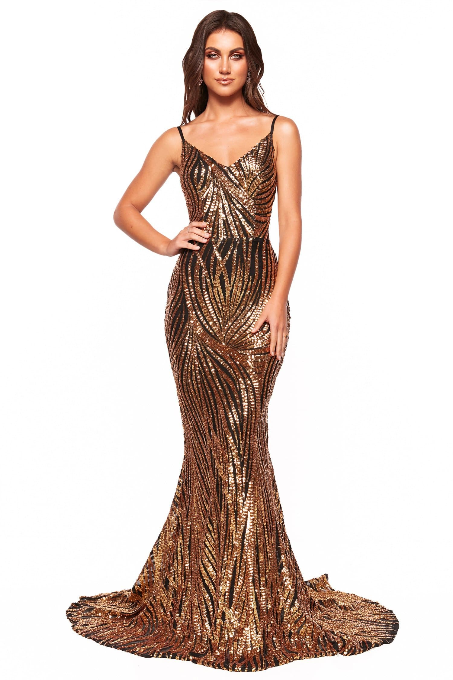 A&N Luxe Jamilla - Gold & Black Patterned Sequin Gown, Sweetheart Neck –  A&N Luxe Label