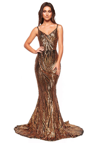 A&N Luxe Jamilla - Gold & Black Patterned Sequin Gown, Sweetheart Neck