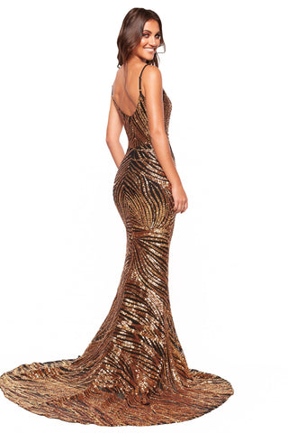 A&N Luxe Talulah - Gold & Black Patterned Sequin Gown, Sweetheart Neck