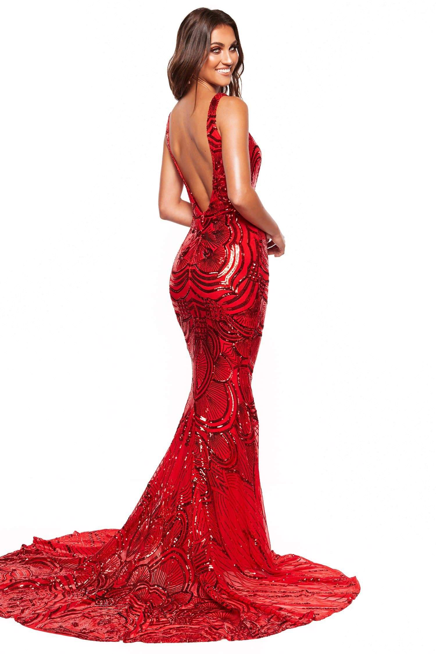 A&N Luxe Kimora - Red Sequin Mermaid Gown with V-neck & Low Back