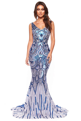 A&N Luxe Kimora - Electric Blue Sequin Mermaid Gown with Low Back