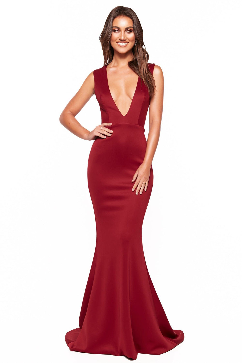 A&N Luxe Scarlett - Burgundy Ponti Gown with Plunge Neck & Back Detail