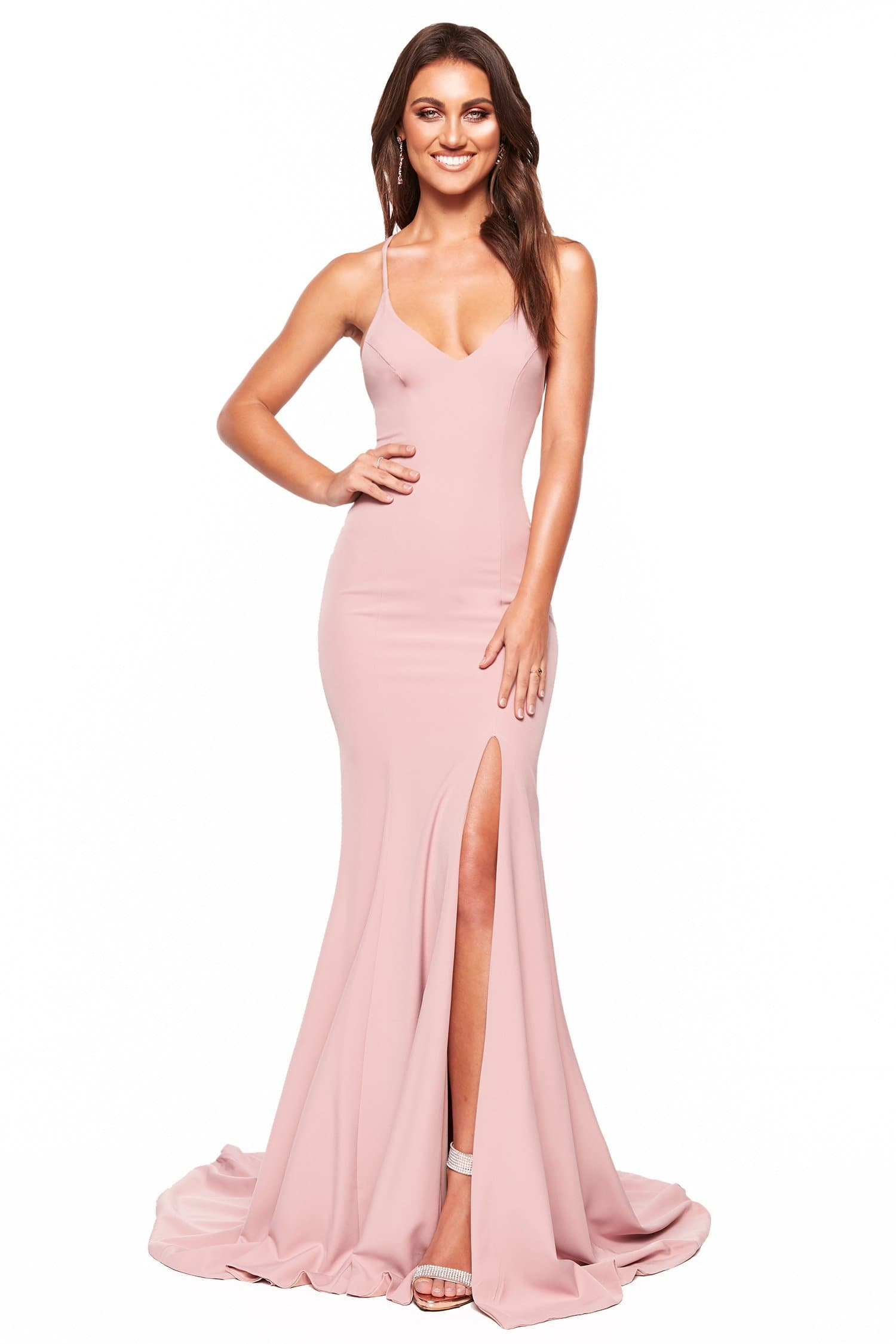A&N Luxe Emilie - Dusty Pink Gown with V-Neck, Lace-Up Back & Slit