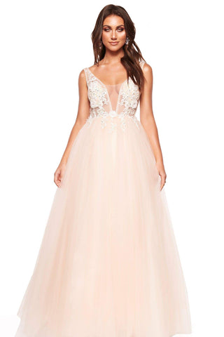 A&N Marinela - Peach/White Embellished & Beaded Backless Tulle Gown