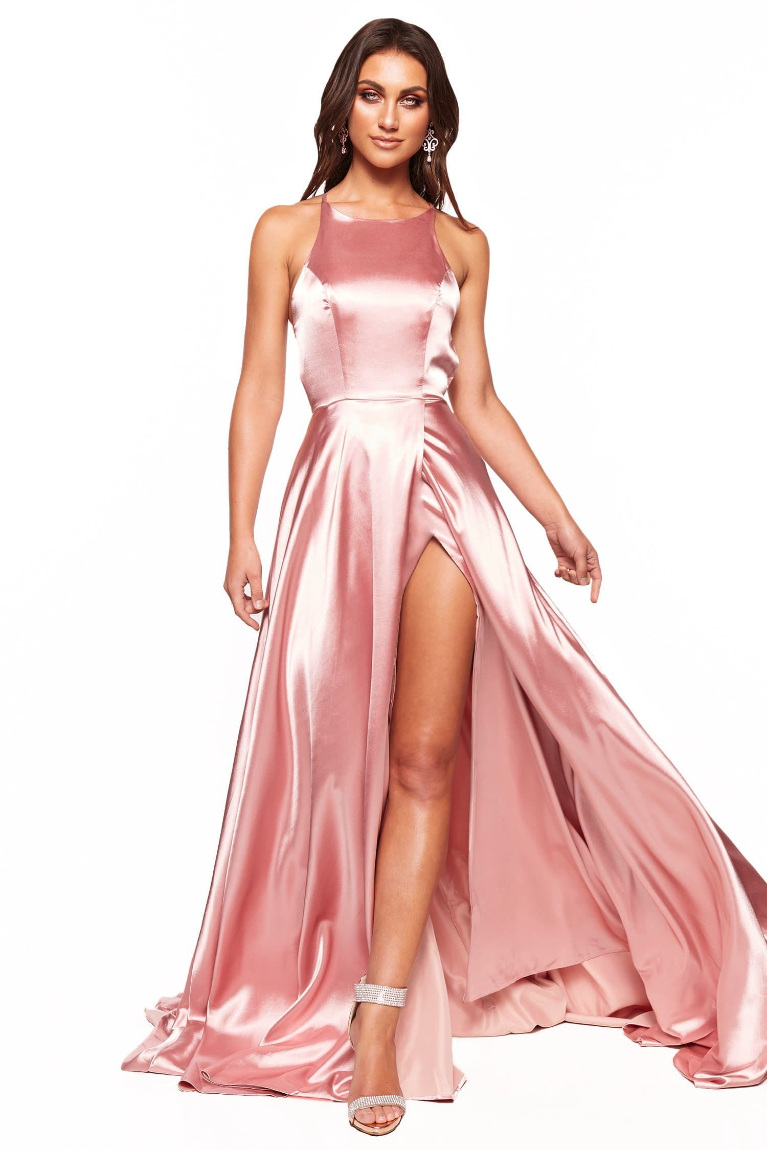 A&N Luxe Romina Satin Gown - Pink