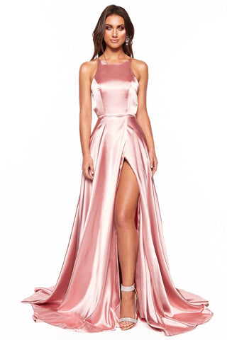 A&N Romina - Pink Satin Gown with High neckline and Side Slit
