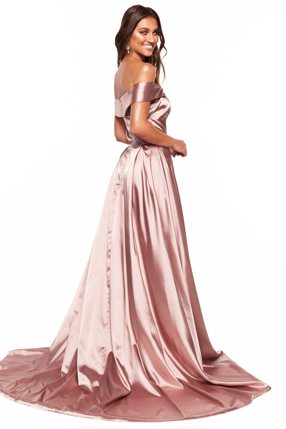 A&N Luciana - Mauve Satin Gown with Off-Shoulder Straps and Slit