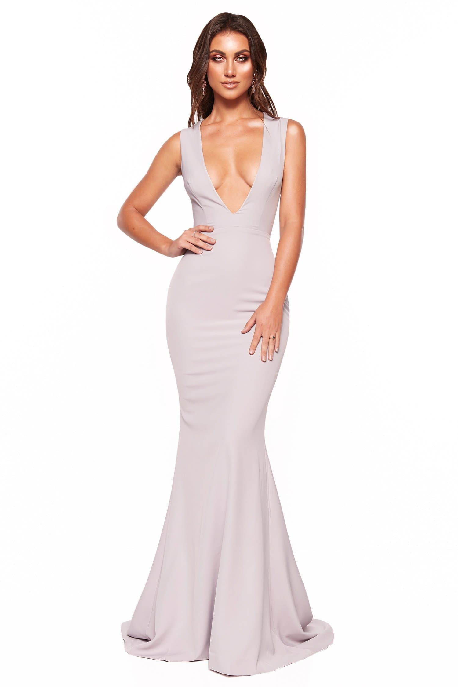 A&N Luxe Scarlett - Grey Lilac Crepe Gown with Plunge Neck & Back Detail