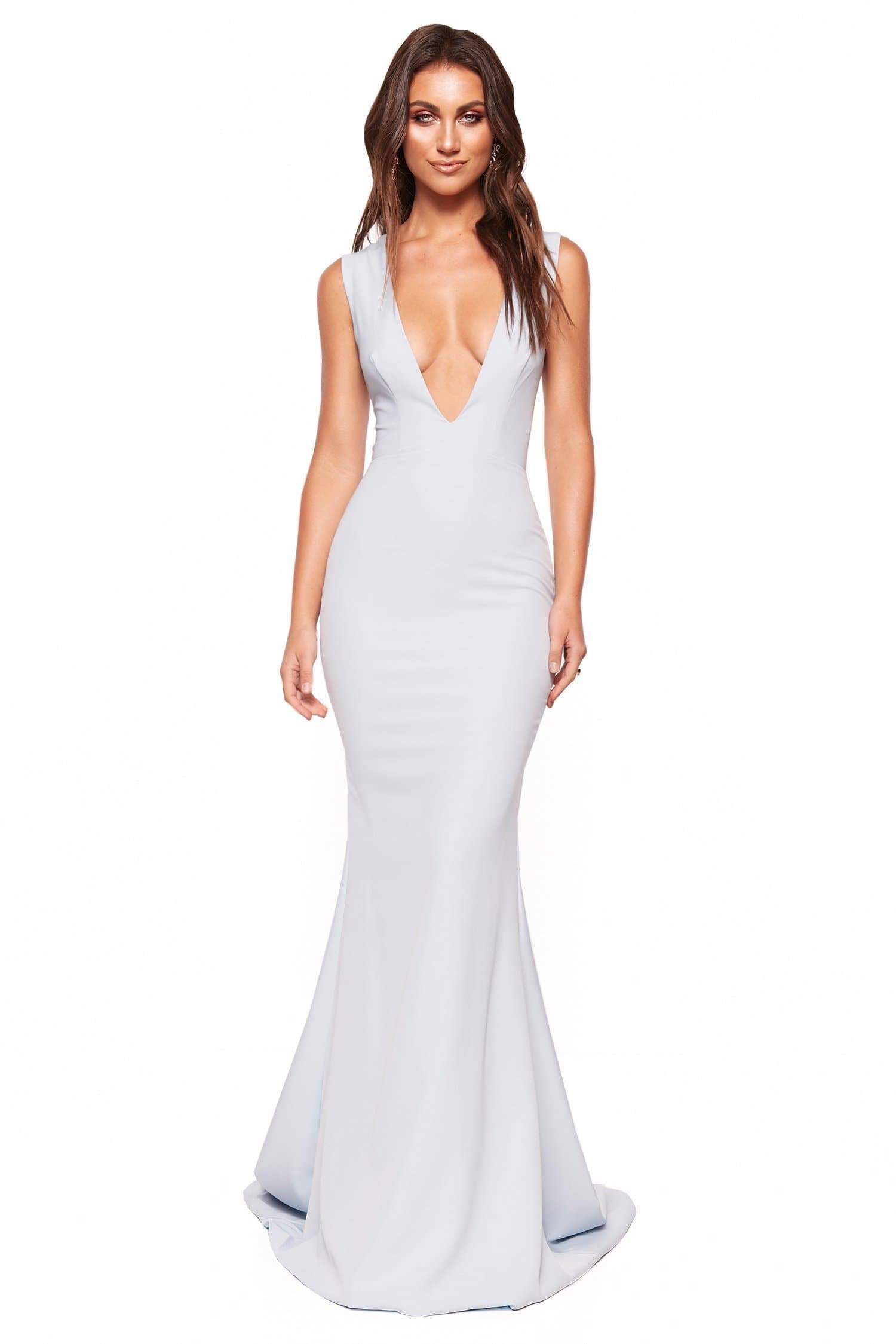 A&N Luxe Scarlett - Sky Blue Crepe Gown with Plunge Neck & Back Detail