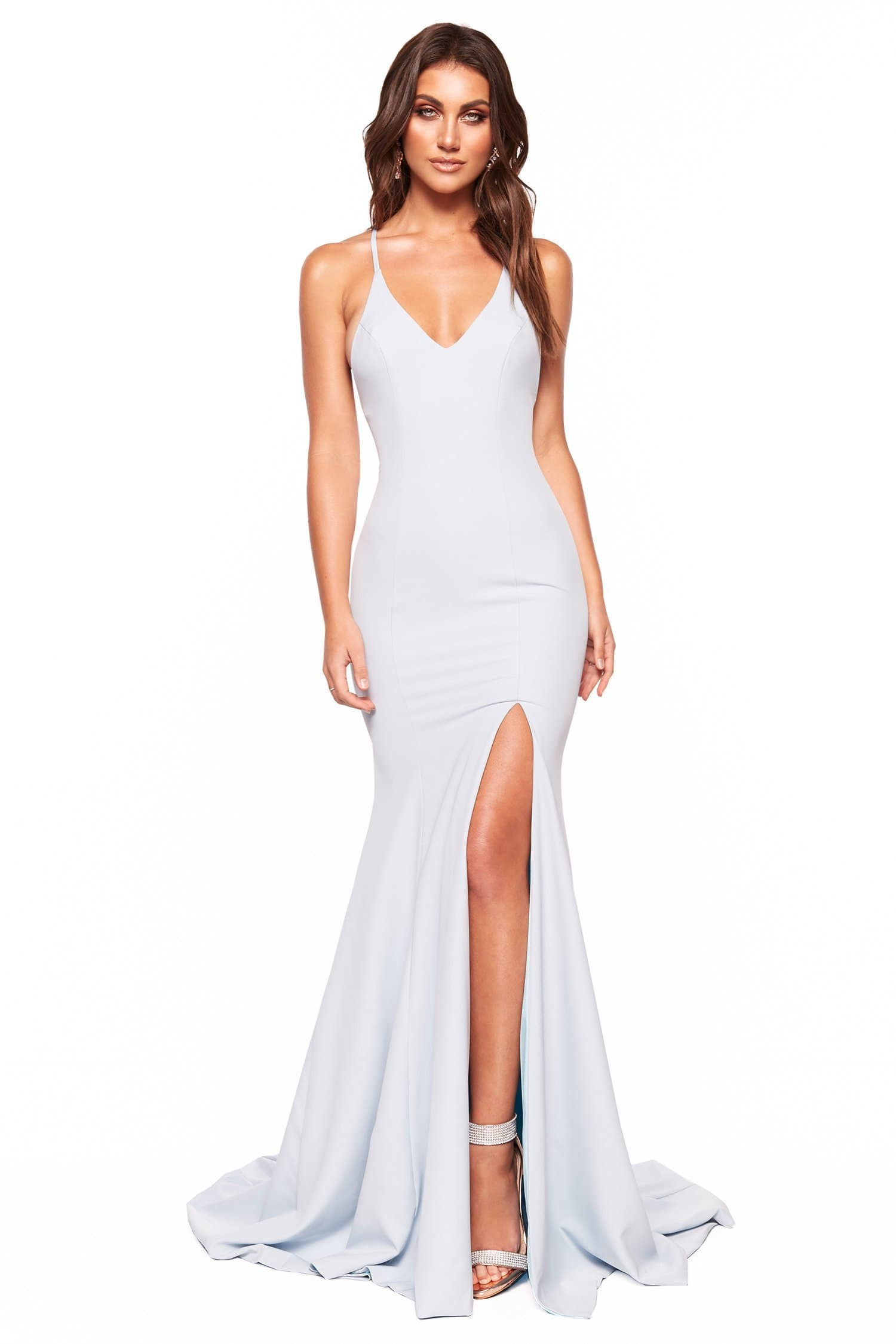 A&N Luxe Emilie - Sky Blue Gown with V-Neck, Lace-Up Back & Slit