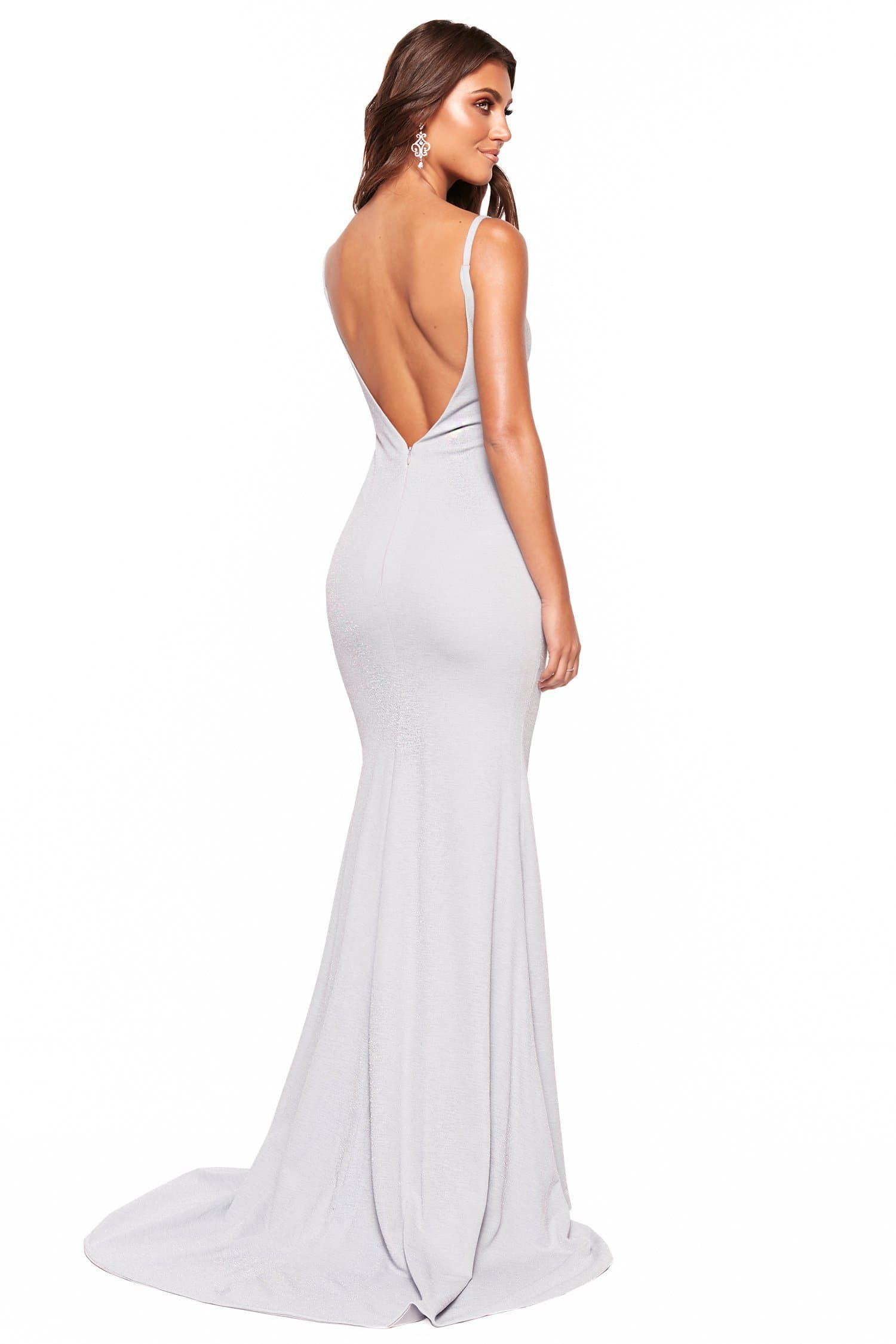 A&N Luxe Pia - Sky Blue Shimmering Mermaid V-Neck Backless Gown