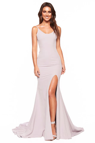A&N Luxe Malia - Grey Lilac Crepe Gown with Scoop Neck & Side Slit