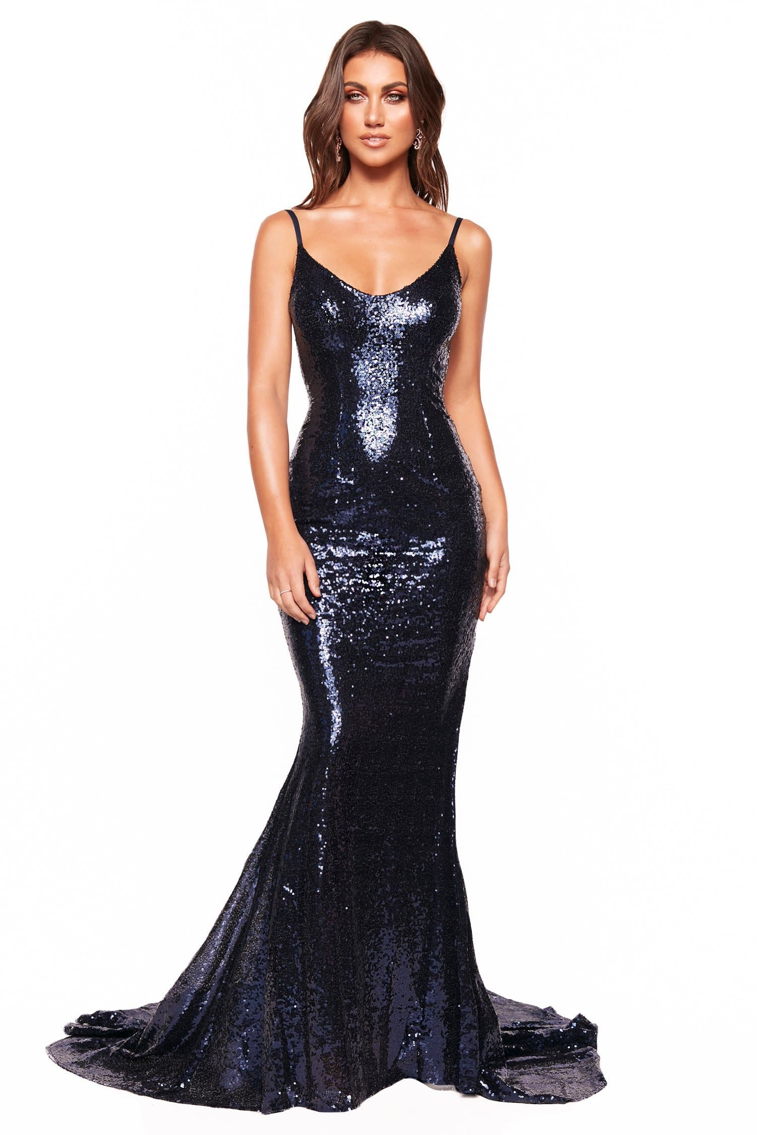 A&N Luxe Zahara - Navy Low Back Sequin Gown with Scoop Neck