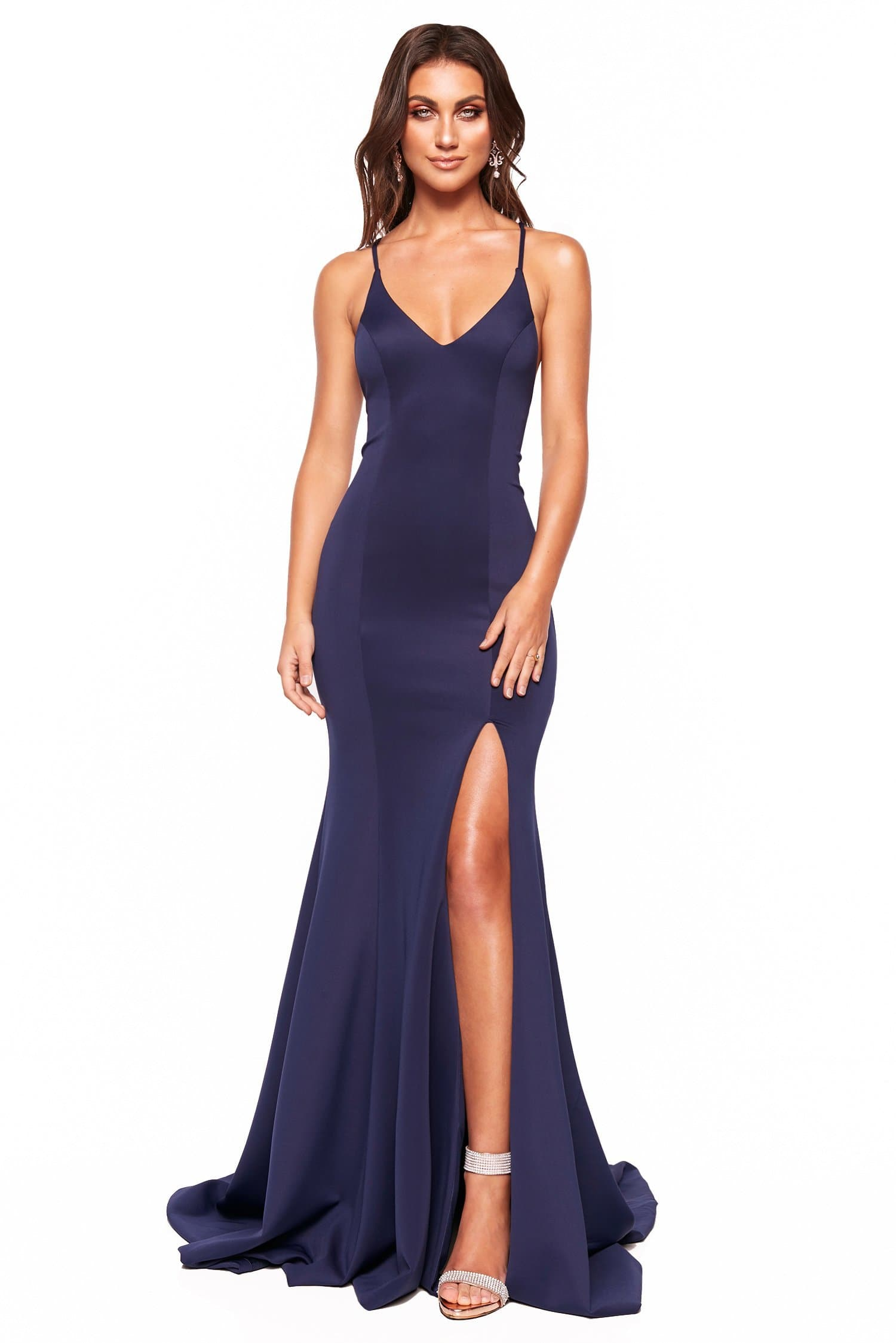 A&N Luxe Emilie - Navy Gown with V-Neck, Lace-Up Back & Side slit